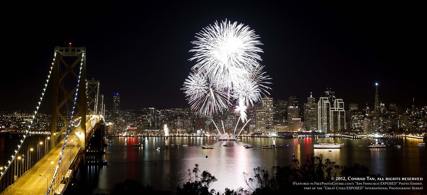 Picture of the 2011-12 New Year's Eve fireworks display over San Francisco Bay.  Part of the online artistic photography exhibit,
