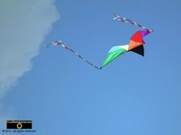 Cool picture of a colorful kite flying at the beach.© 2011, FreePhotoCourse.com, all rights reserved.  Awesome beach pictures & wallpapers. Download free jpg, jpeg photos.