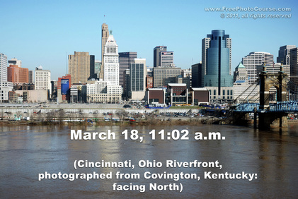 Picture of Cincinnati, Ohio Riverfront. Illustrates use of camera at different times of the day to change photographic exposure and depth of sky tone and shade.  © 2011, www.FreePhotoCourse.com, all rights reserved.  Do not copy or use for commercial purposes.