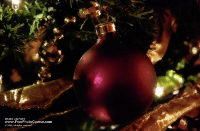 Painted Christmas Scene - Burgundy Christmas Tree Ball with Gold Ribbon and Beads; (c) 2010, FreePhotoCourse.com