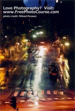 Wet Pavement, Reflections at Night - © 2010, Mikael Persson. Visit: http://www.FreePhotoCourse.com