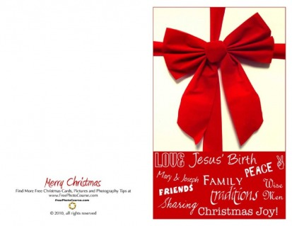 Thumbnail of half-fold Christmas Card; downloadable, printable; courtesy FreePhotocourse.com; (c) 2010, all rights reserved.