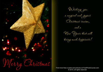 Thumbnail of Elegant Christmas e-card from FreePhotoCourse.com; (c) 2010, all rights reserved
