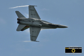 Fighter Jet Picture; CF18, F18; Link to Free Pictures and Wallpapers, featuring aircraft like jets, stunt planes and commercial airplanes, from www.FreePhotoCourse.com