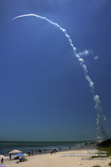 Rocket Launch Photography Tips; Picture of an Atlas V Rocket on NASA's Juno Mission to Jupiter. From an article on Space Launch Photography Tips at FreePhotoCourse.com.  Photo Credit: Stephen Kristof,© 2011, all rights reserved.