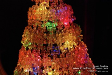Picture of lighted Christmas decoration.  Find more high-res photos, wallpapers and photography tips at FreePhotoCourse.com. ©2010, all rights reserved.