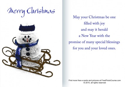 Downloadable Christmas e-card or printable card from FreePhotoCourse.com;   ©2010, www.FreePhotoCourse.com, all rights reserved.