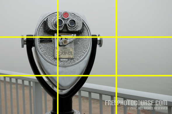Picture of a coin-operated binocular used to illustrate an aspect of photographic composition and Rule of Thirds.  Part of a tutorial by FreePhotoCourse.com; © 2012, all rights reserved.