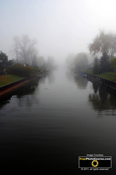 Ethereal Scene - picture of canal in fog. Find more cool pictures and wallpapers at FreePhotoCourse.com. © 2011, all rights reserved.