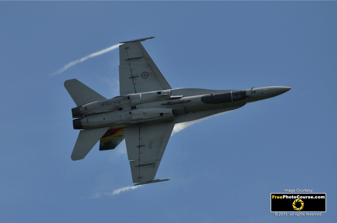 Picture Of A CF18 Hornet Jet Fighter At 90 Degree Angle Seen From Underside