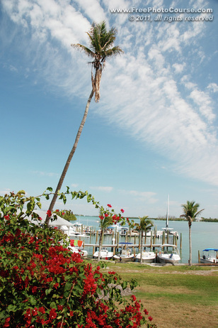 © 2011, www.FreePhotoCourse.com; picture of Cabbage Key Harbour, Florida; example of photography without a polarizing filter.  All rights reserved.  Photo Credit: Stephen Kristof.