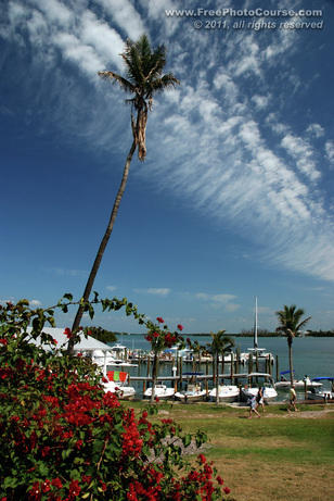 © 2011, www.FreePhotoCourse.com; picture of Cabbage Key Harbour, Florida; example of photography with a polarizing filter.  All rights reserved.  Photo Credit: Stephen Kristof.