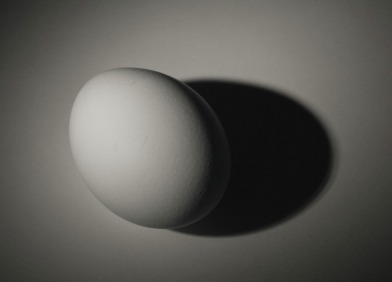 Picture of an egg casting a sharp shadow from a single, direct light source. © 2011, FreePhotoCourse.com, all rights reserved.