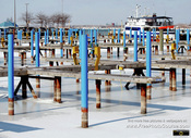 Picture of a northern marina during the winter. Berths are frozen in the lake ice.Download free pictures and wallpapers.  © 2011, FreePhotoCourse.com, all rights reserved.