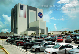 Picture of NASA's VAB - Vehicle Assembly Building - at Kennedy Space Center, Cape Canaveral, FL. ©2010, FreePhotoCourse.com
