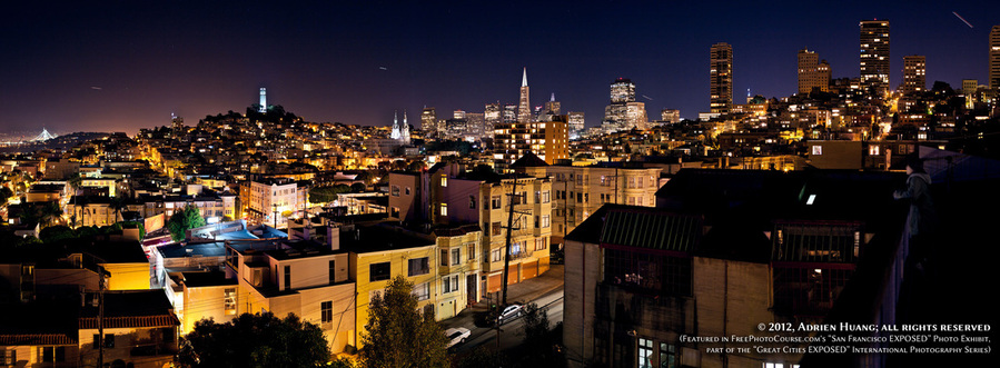 Long exposure nighttime picture of the City of Dreams - San Francisco. Part of FreePhotoCourse.com's