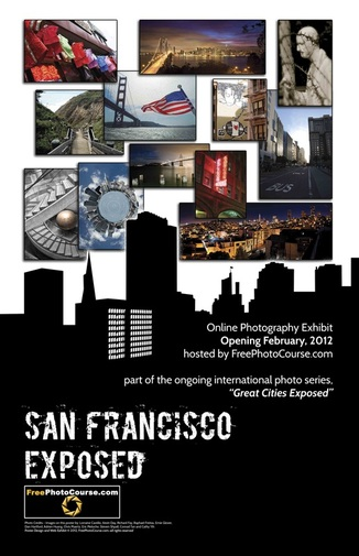 San Francisco EXPOSED poster commemorating a new online artistic photography exhibit, part of the
