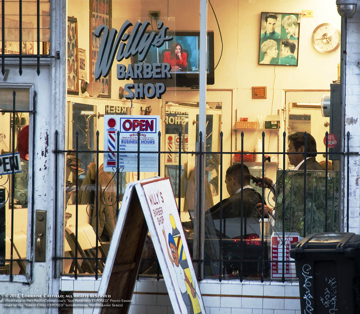 Picture of Willy's Barber Shop, Mission District, San Francisco.  Part of FreePhotoCourse.com's