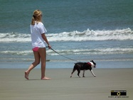 Cute picture of a young woman walking her dog on the beach.© 2011, FreePhotoCourse.com, all rights reserved.  Awesome beach pictures & wallpapers. Download free jpg, jpeg photos.