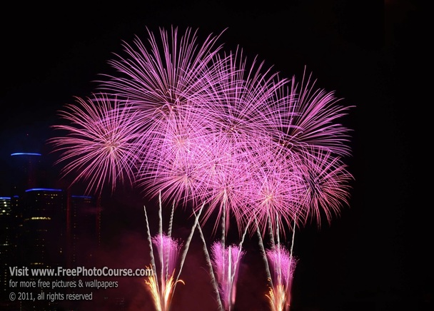 Picture of vibrant magenta fireworks;  Article about how to photograph fireworks;© 2011, Stephen Kristof for FreePhotoCourse.com