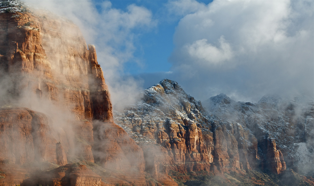 Picture of snow-capped mountains in Sedona, Arizona.  Honorable Mention featured in FreePhotoCourse.com