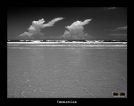 Black & White picture/poster of ocean, sky and clouds, 'Immersion'.Download free pictures and wallpapers.  © 2011, FreePhotoCourse.com, all rights reserved.
