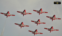 Picture of 8 CT-114 Tutor Jets in formation; Canadian Snowbirds Air Acrobatic Team.© 2011, FreePhotoCourse.com, all rights reserved.  Free high-res desktop wallpapers and pictures.