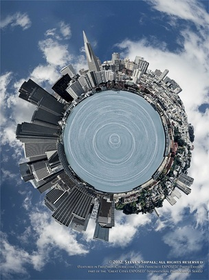 Special Effects picture of the San Francisco skyline in 180 degrees, photographed and created by Steven Shapall. Part of the online artistic photography exhibit,