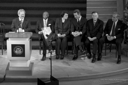 Part of San Francisco EXPOSED, an online artistic photography exhibit, this picture by local photographer Dave Golden, features San Francisco's new mayor, Ed Lee, along with the city's five previous mayors at Lee's inauguration.  Exhibit hosted by FreePhotoCourse.com.  All rights reserved.