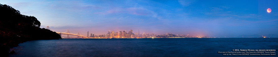 Lunar eclipse over San Francisco Bay. Part of FreePhotoCourse.com's