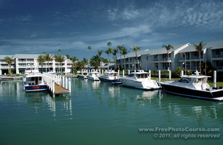 © 2011, www.FreePhotoCourse.com; picture of Captiva Island Harbour, Florida; example of photography with a polarizing filter.  All rights reserved.  Photo Credit: Stephen Kristof.