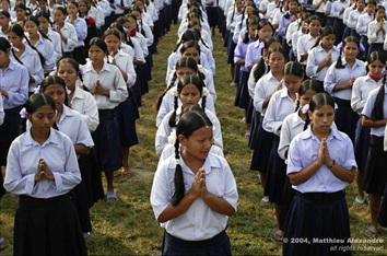"Picture of school children in Nepal at the Jhapa Buthanese refugee camp.  © 2004, Matthieu Alexandre; part of FreePhotoCourse.com's ""Photographer Profiles"" series; DO NOT COPY – IP Address recorded - all rights reserved."